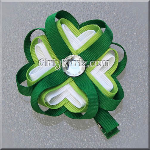 4 leaf clover hair bow