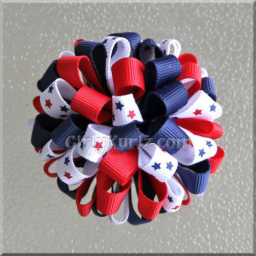 4th of July Loopy Pom Pom Hair Bows (set of 2)