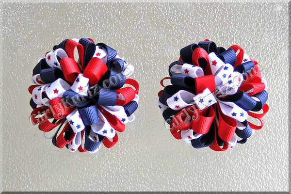 4th of July Loopy Pom Pom Hair Bows