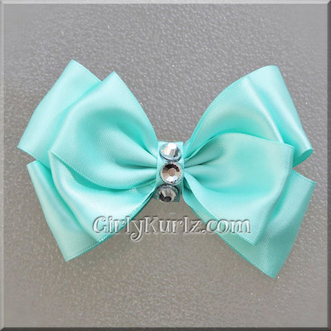 Aqua Satin Layered Bow