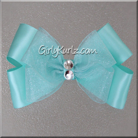 aqua satin hair bow