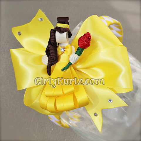 beauty and the beast headband hair bow
