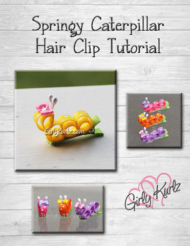 caterpillar hair clip tutorial, diy tutorial, ribbon sculpture