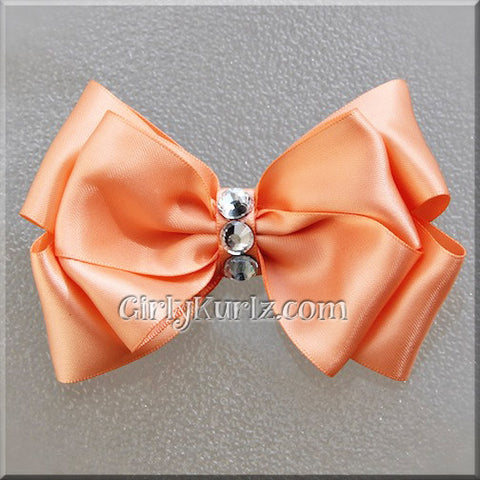 peach satin hair bow