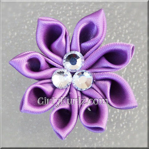 Purple Kanzashi Hair Bow