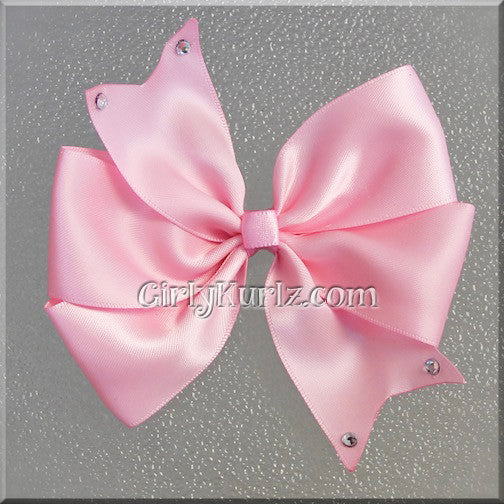 pink satin hair bow