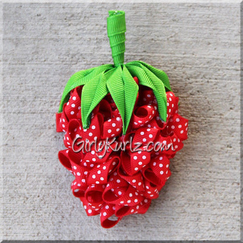 strawberry hair bow