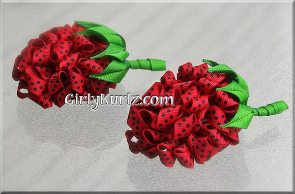 strawberry hair bows
