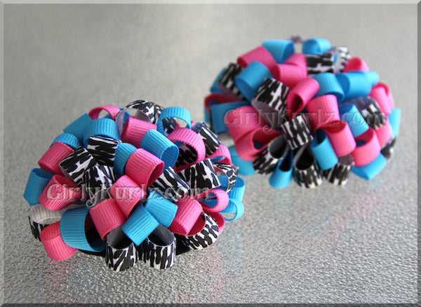 loopy pom pom hair bow