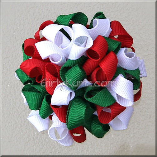 Red, Green & White Kurly Pom Pom Hair Bow