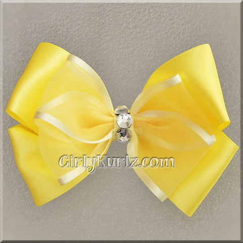 yellow satin hair bow