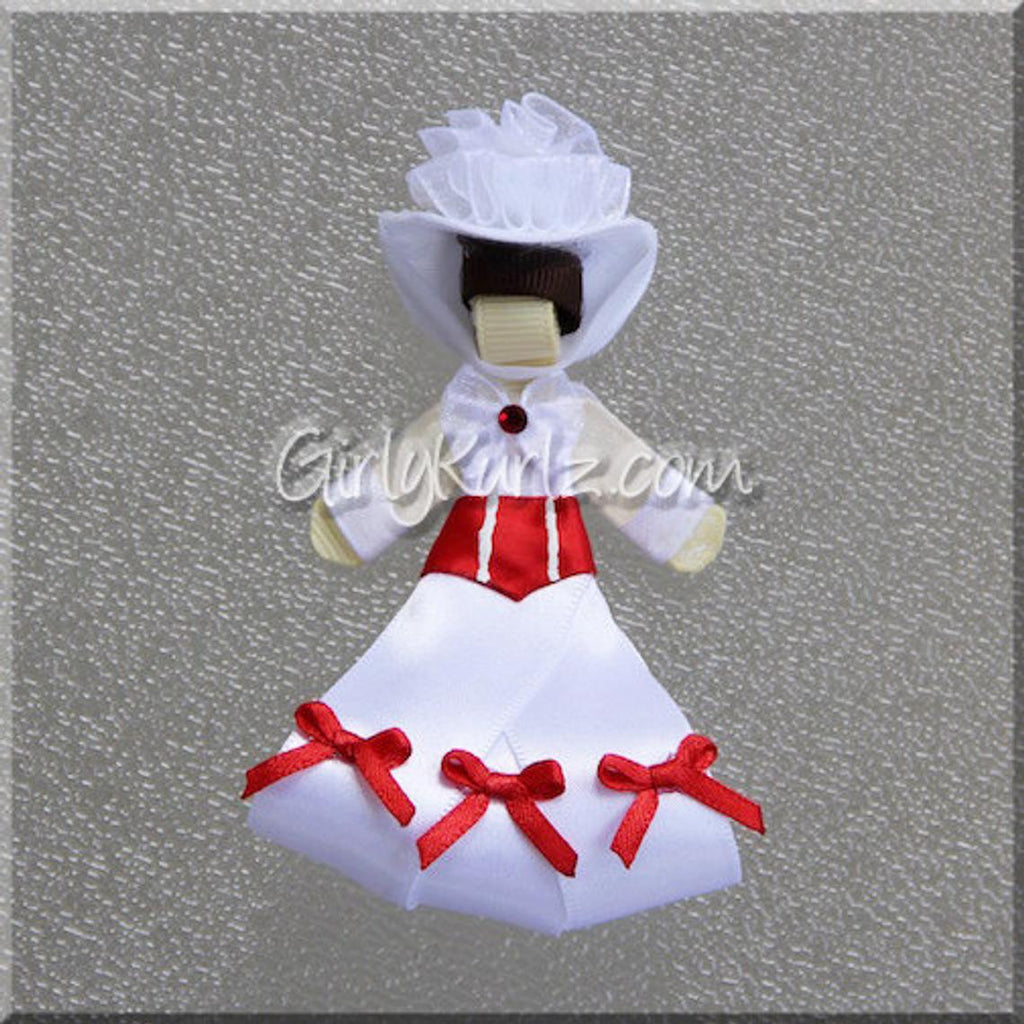 mary poppins hair clip, hair bow, ribbon sculpture, hair accessories