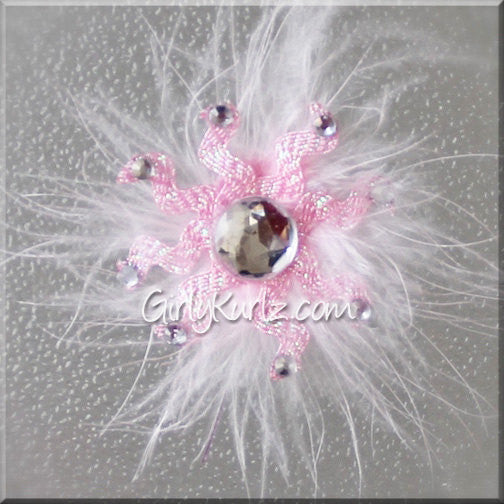 PINK Sparkly Snowflake Hair Clip