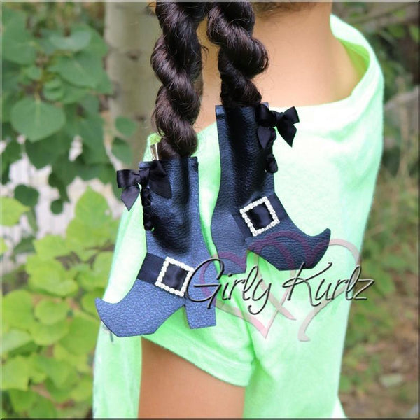 Witch Hat and Witch Boots Hair Bow, Halloween hair bows