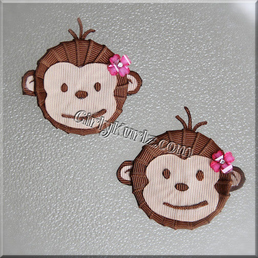 monkey hair clip, zoo hair clip, ribbon sculpture
