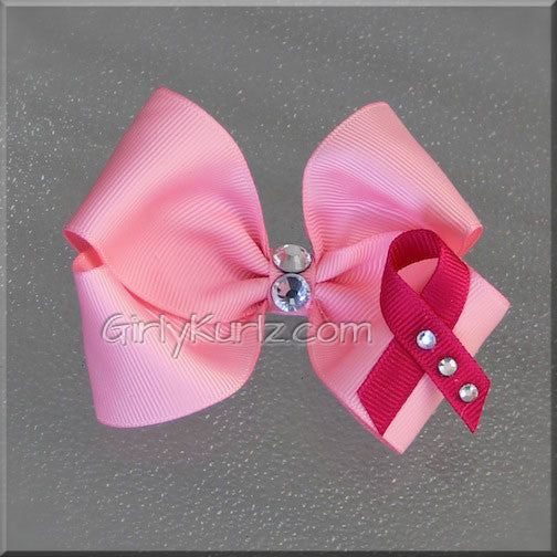breast cancer hair bow