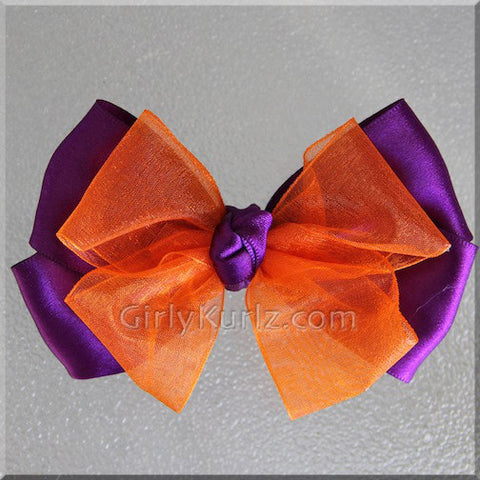 purple orange hair bow