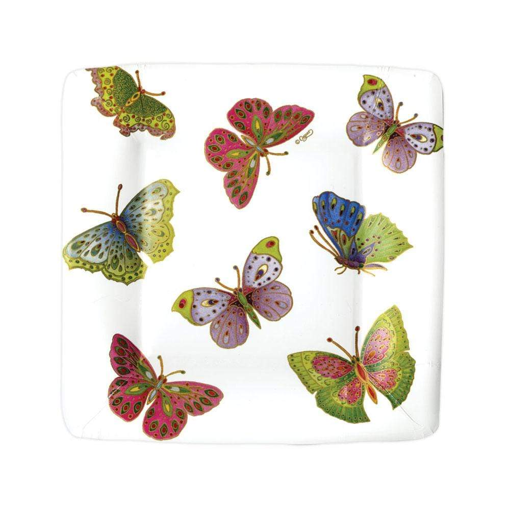 Caspari Jeweled Butterflies Square Paper Salad & Dessert Plates - 8 Per Package
