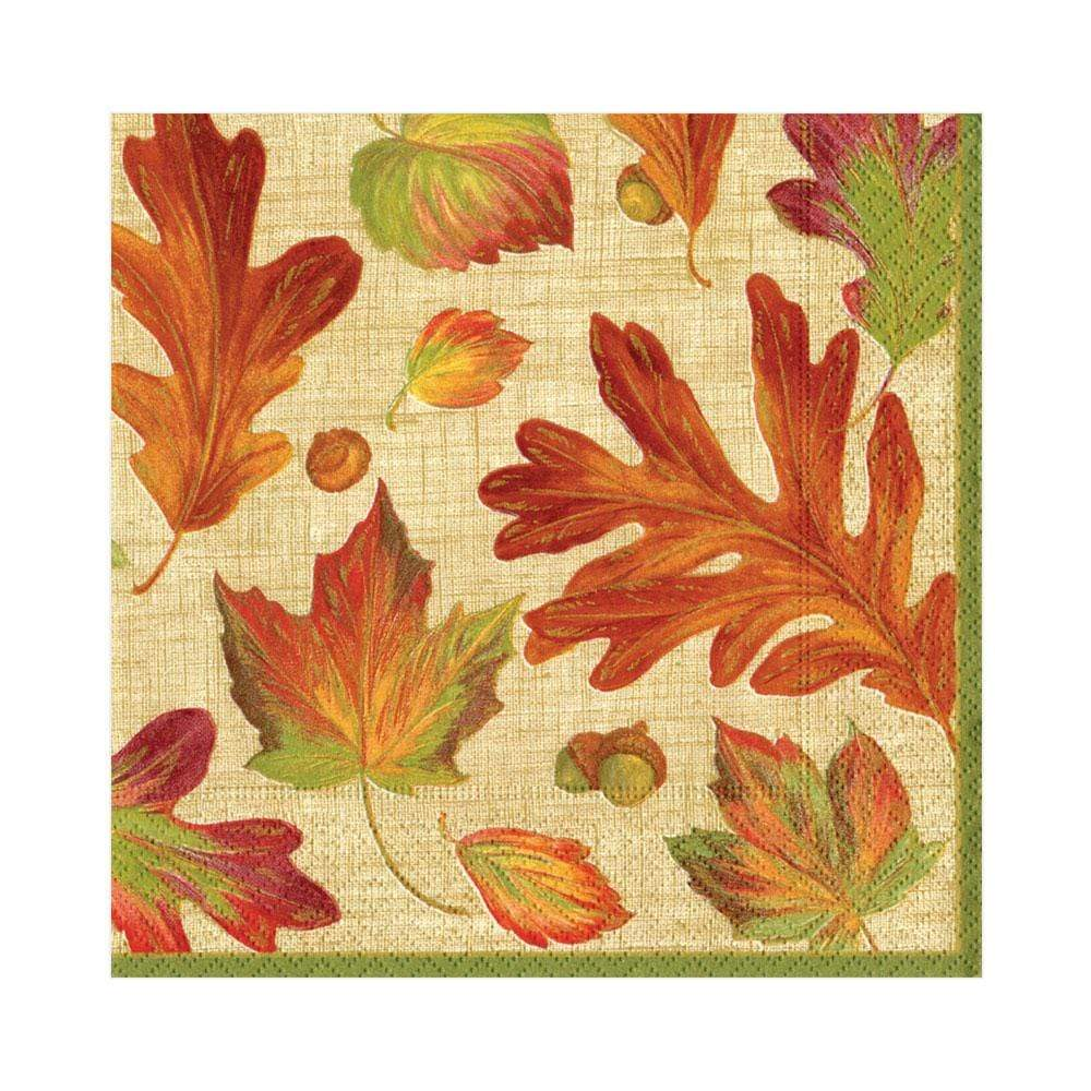 Caspari Linen Leaves Paper Luncheon Napkins in Natural - 20 Per Package