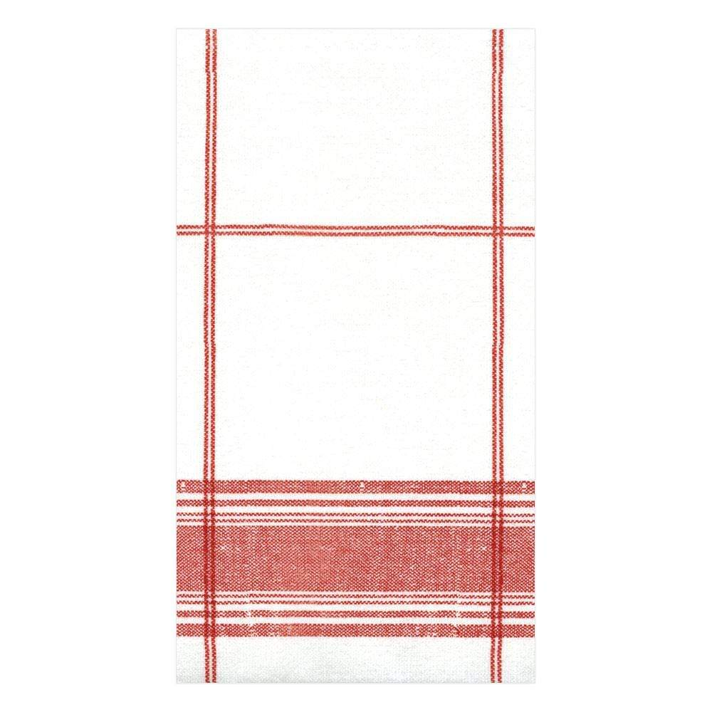 Caspari Belgian Linen Paper Linen Guest Towel Napkins in Red - 12 Per Package