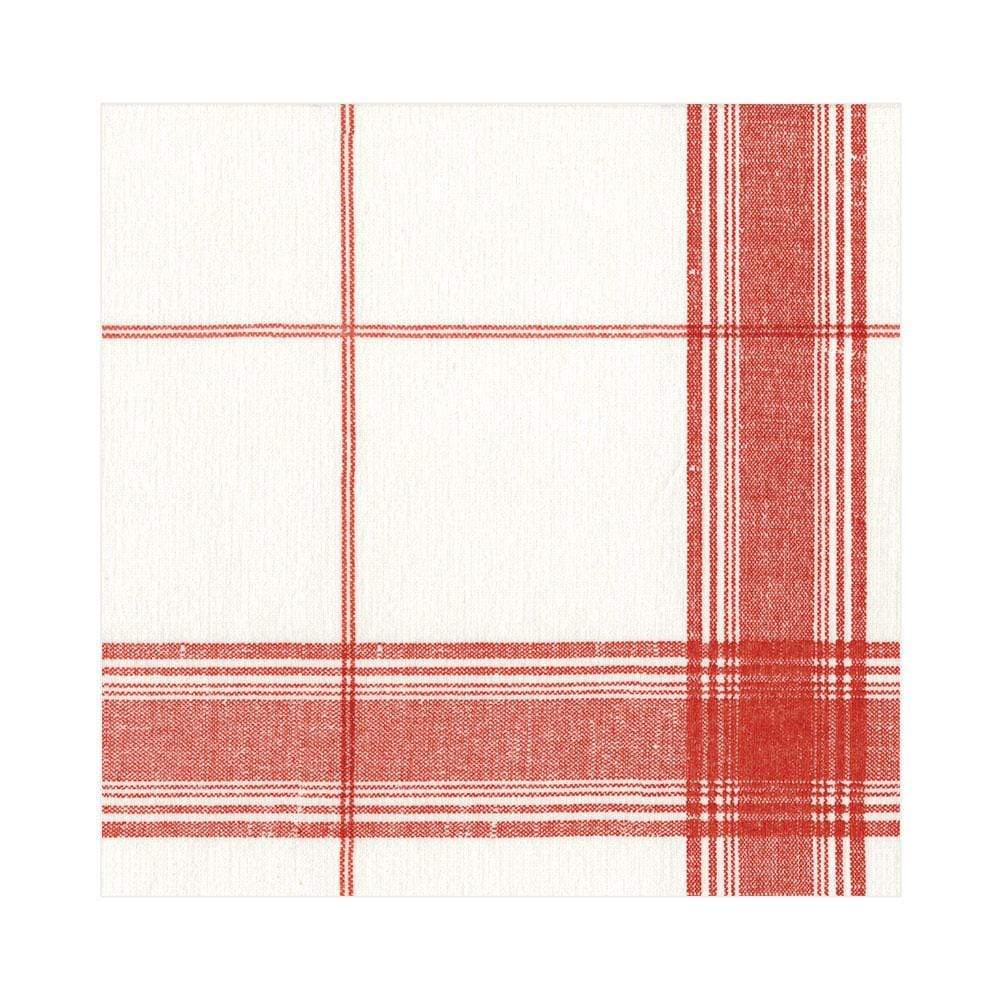 Caspari Belgian Linen Paper Linen Luncheon Napkins in Red - 15 Per Package