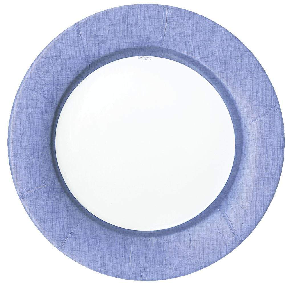 Caspari Linen Border Paper Dinner Plates in Lavender - 8 Per Package 11379DP