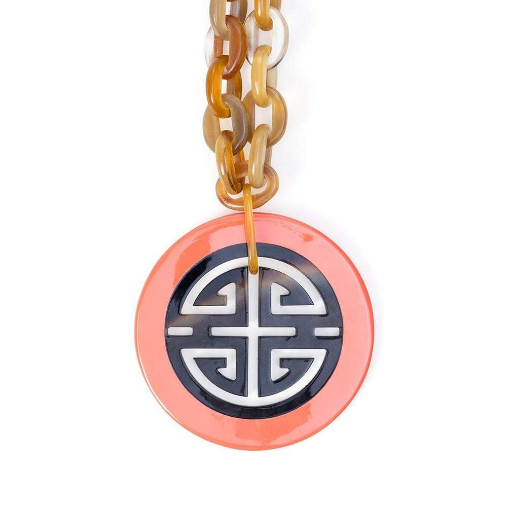 Caspari Horn & Lacquer Medallion Necklace in Coral
