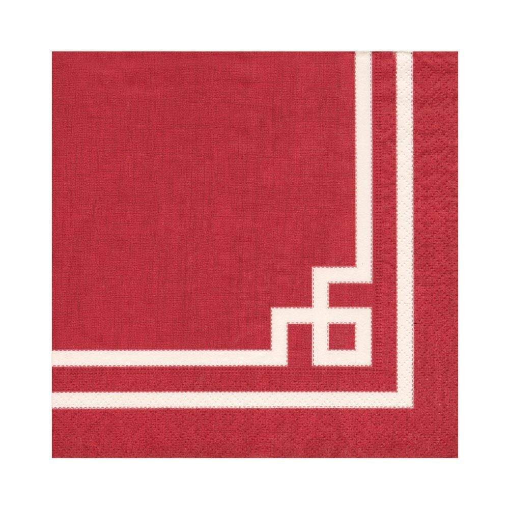Caspari Rive Gauche Paper Luncheon Napkins in Red - 20 Per Package