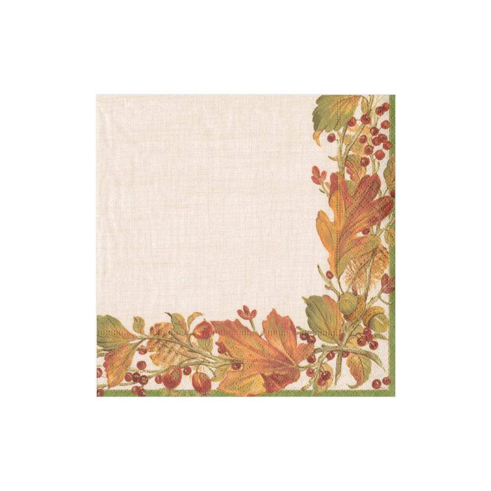 Caspari Autumn Garland Paper Cocktail Napkins - 20 Per Package
