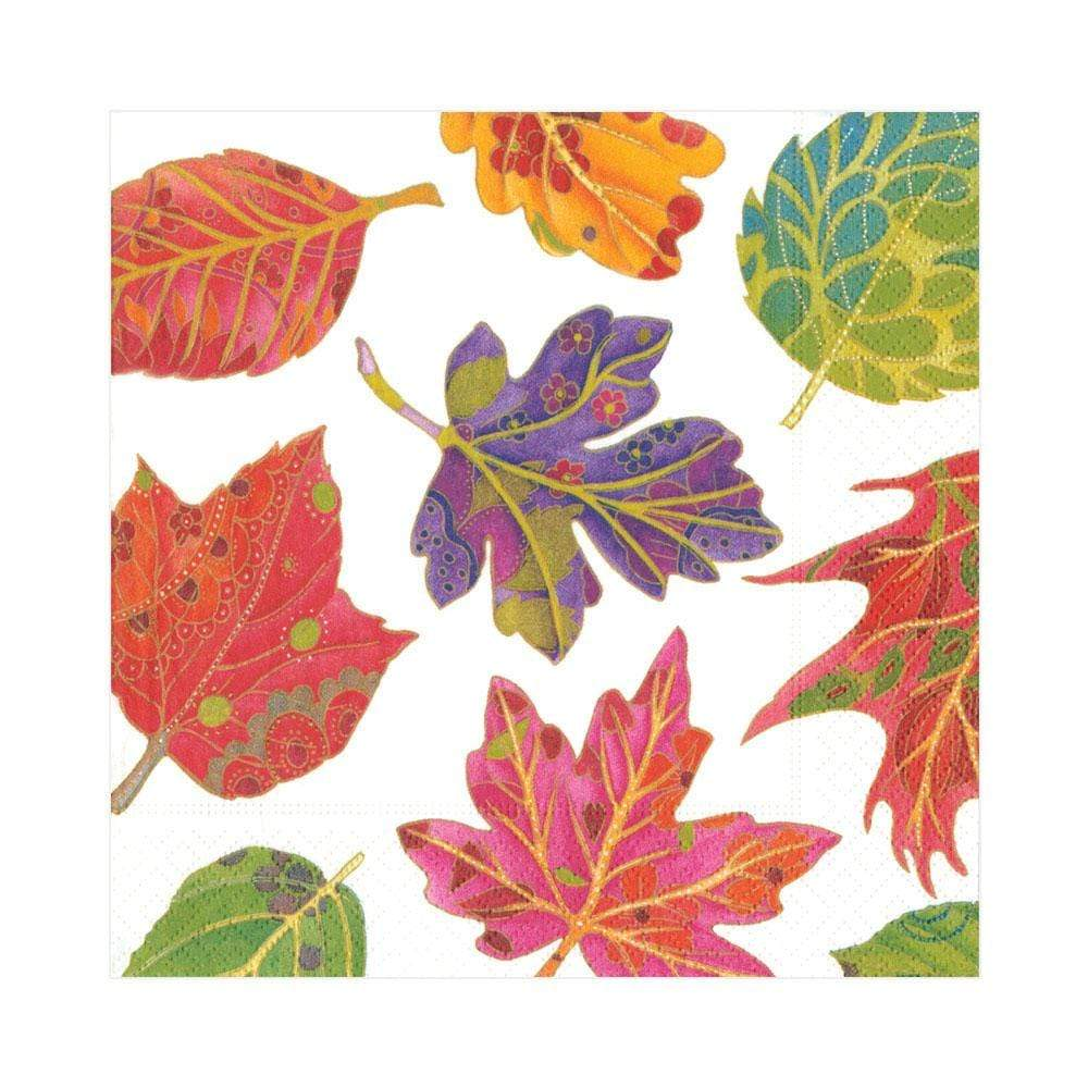 Caspari Jeweled Autumn Paper Luncheon Napkins in Ivory - 20 Per Package