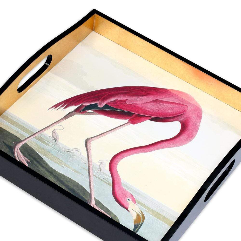 Caspari Audubon Birds Flamingo Lacquer Square Tray - 1 Each