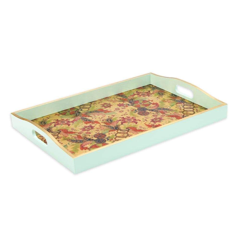 Caspari Tobacco Leaf Lacquer Large Rectangle Tray in Gold - 1 Each