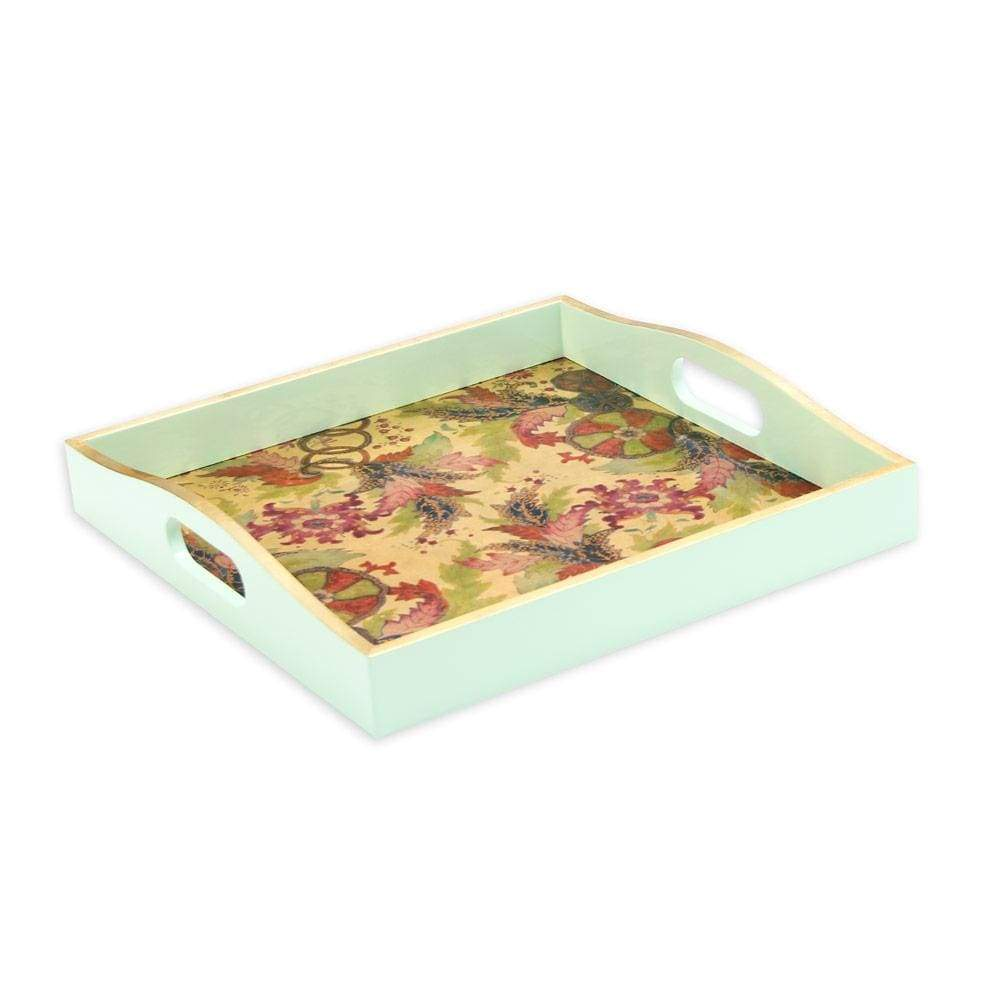 Caspari Tobacco Leaf Lacquer Square Tray in Gold - 1 Each