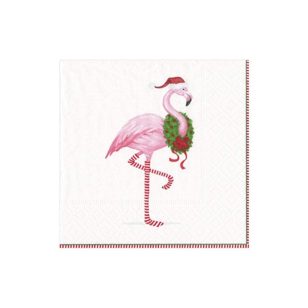 Caspari Christmas Flamingo Paper Cocktail Napkins in White - 20 Per Package