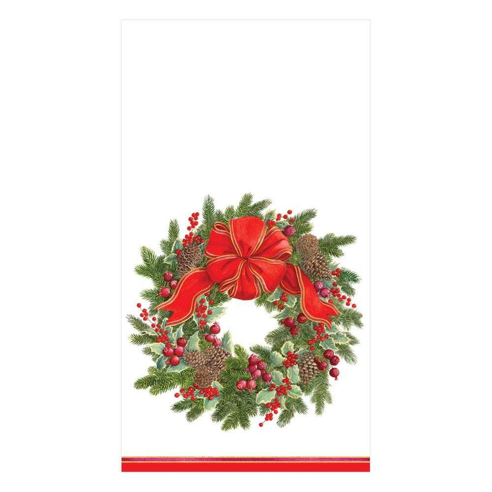 Caspari Evergreen Wreath Paper Guest Towel Napkins in White - 15 Per Package