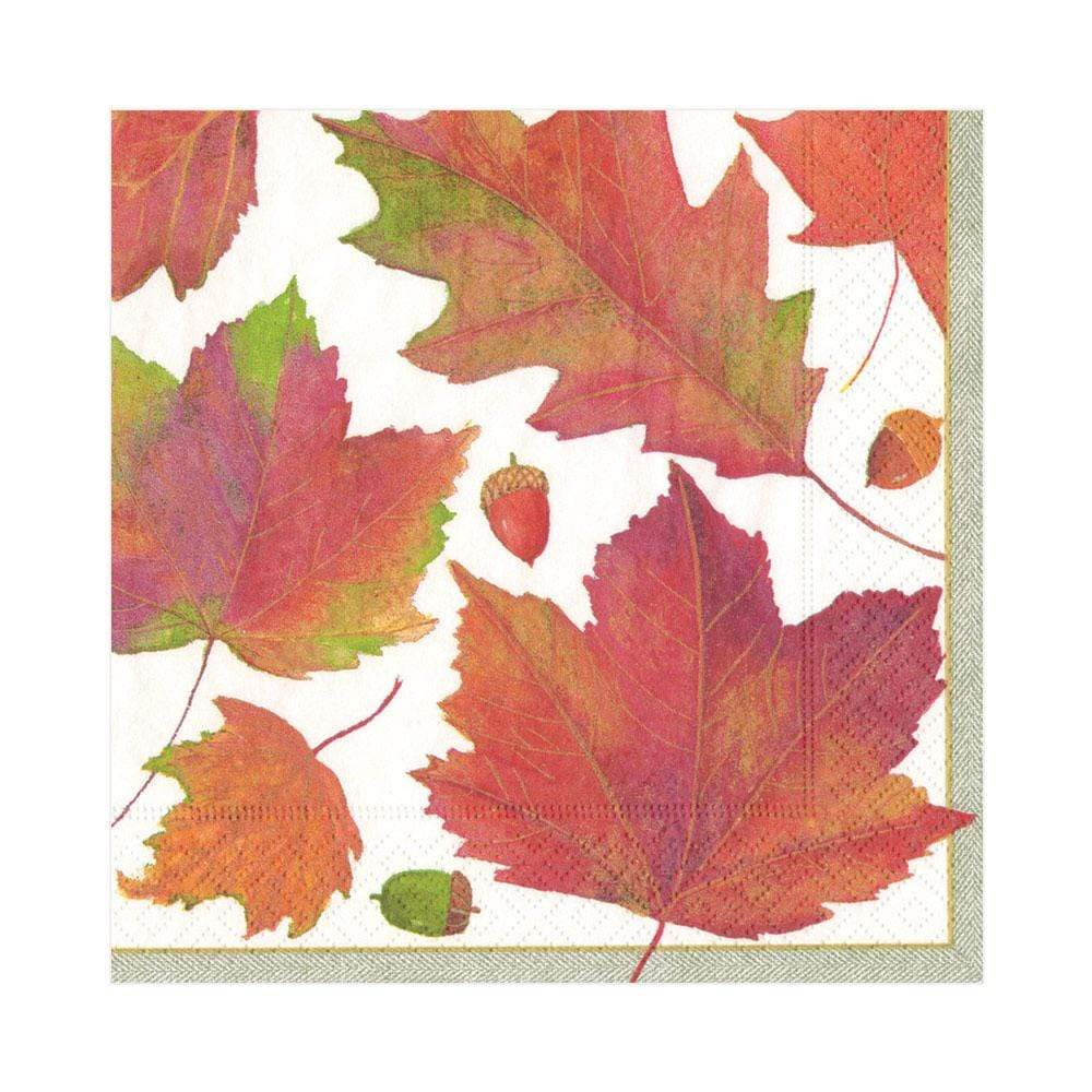Caspari Watercolor Leaves Paper Luncheon Napkins in Ivory - 20 Per Package