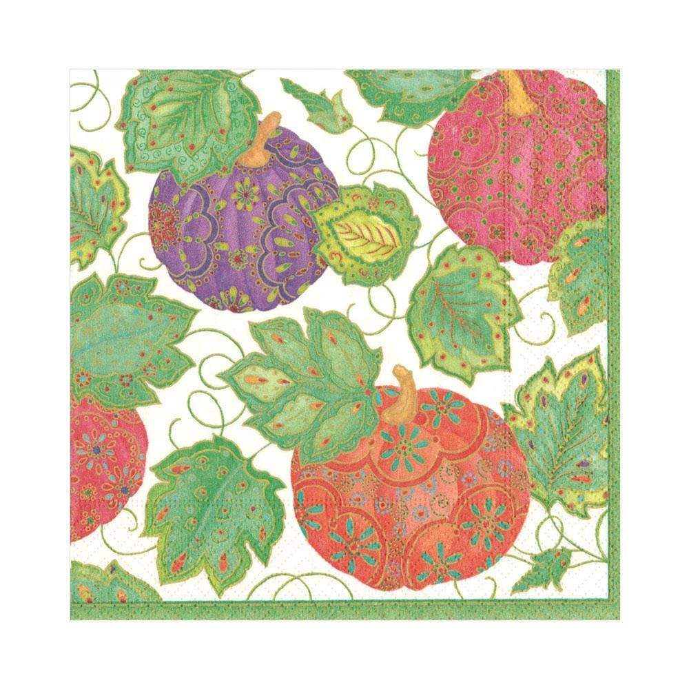 Caspari Jeweled Pumpkins Paper Luncheon Napkins in Ivory - 20 Per Package