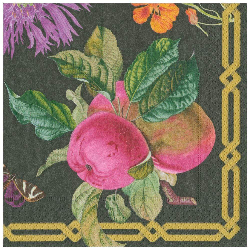 Caspari Découpage Garden Paper Dinner Napkins in Black - 20 Per Package