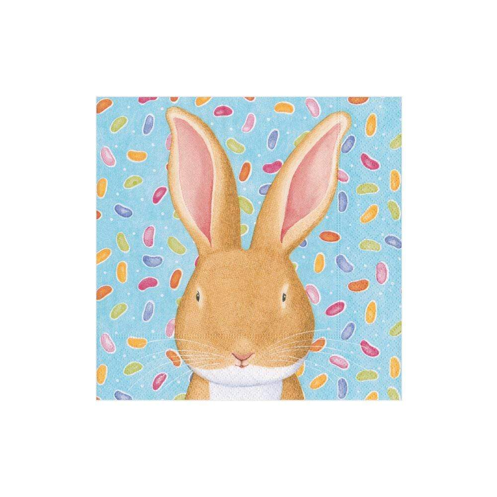 Caspari Wabbit Blue Paper Cocktail Napkins - 20 Per Package