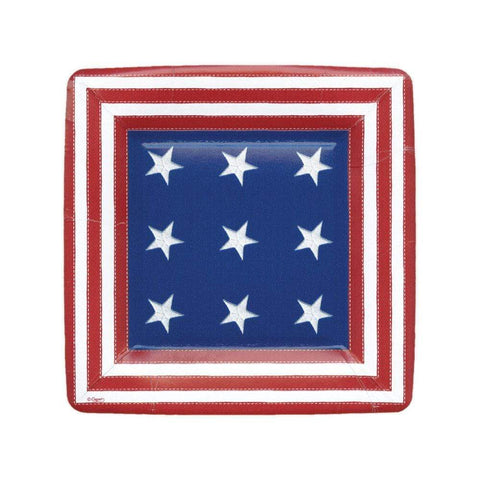 Caspari Star Spangled Square Paper Salad & Dessert Plates - 8 Per Package