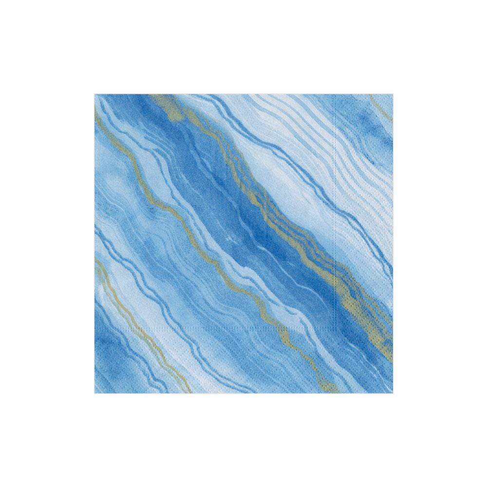 Caspari Marble Paper Cocktail Napkins in Blue - 20 Per Package
