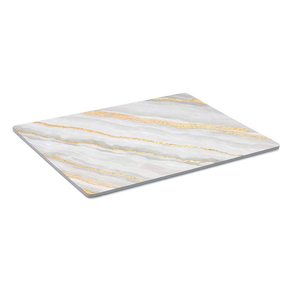 Caspari Marble Rectangular Lacquer Placemat in Grey - 1 Each