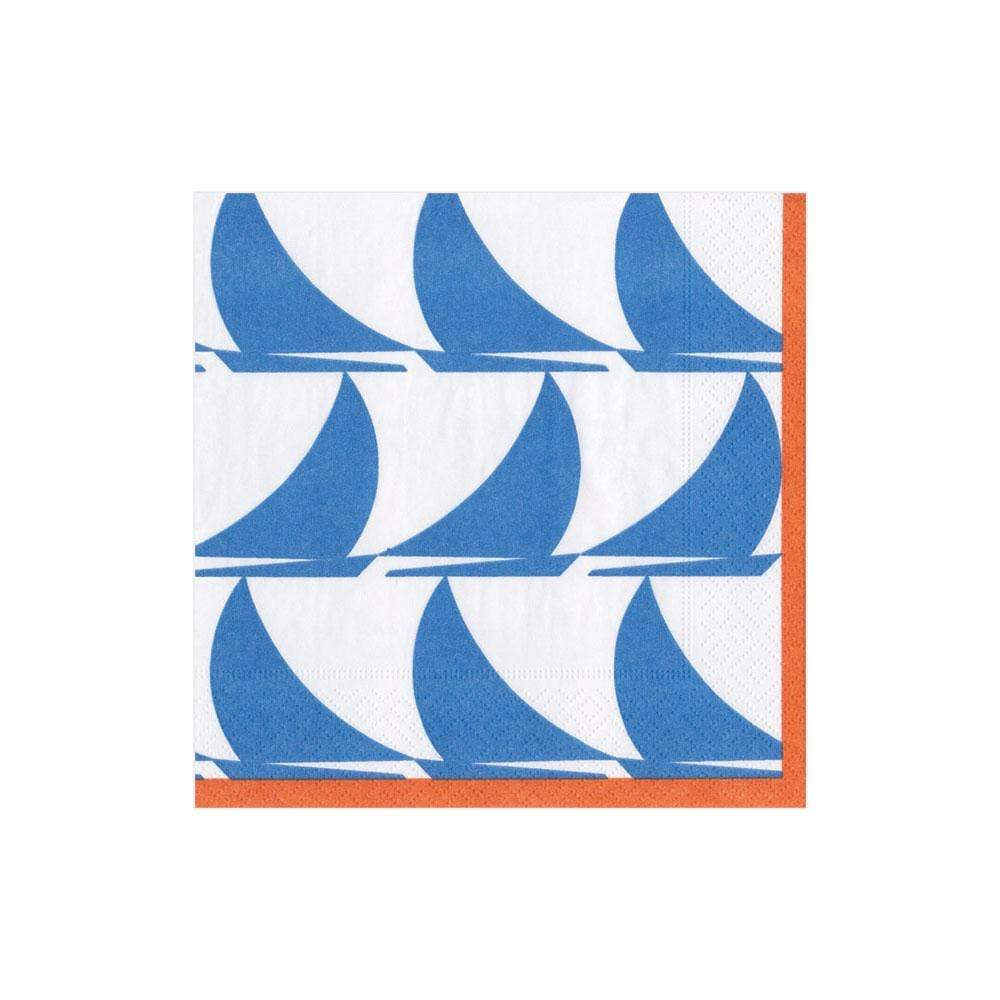 Caspari Sail Away Paper Cocktail Napkins in Light Blue - 20 Per Package