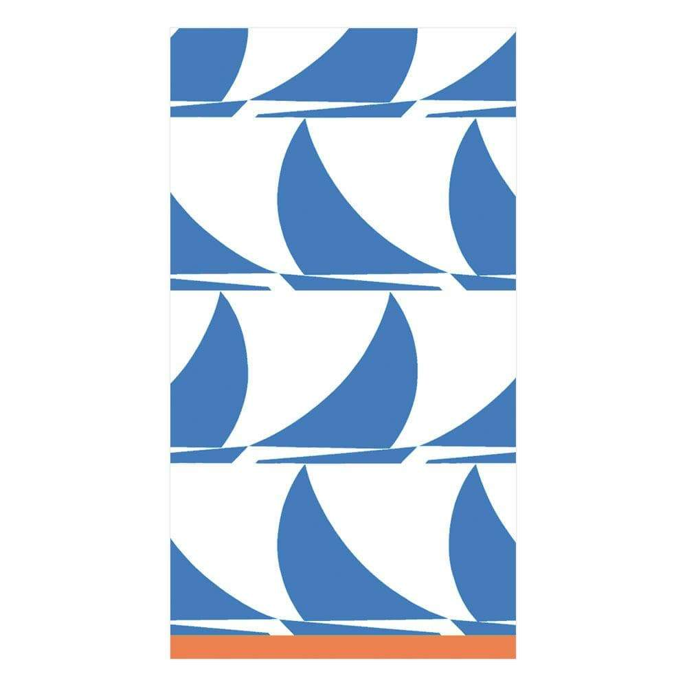 Caspari Sail Away Paper Guest Towel Napkins in Light Blue - 15 Per Package