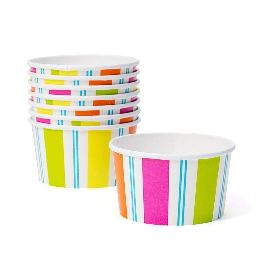 Caspari Awning Stripe Paper Treat Cups in Bright Colors - 8 Per Package