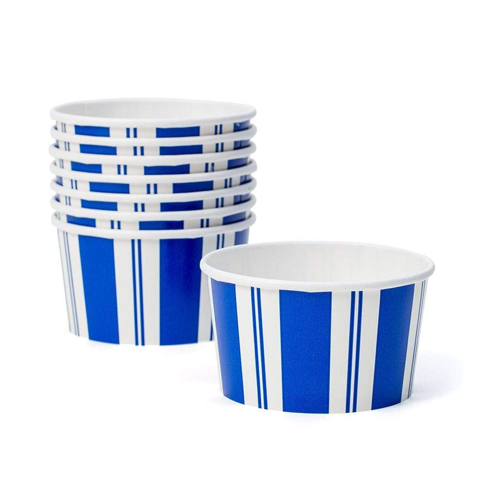 Caspari Awning Stripe Paper Treat Cups in Blue & White - 8 Per Package