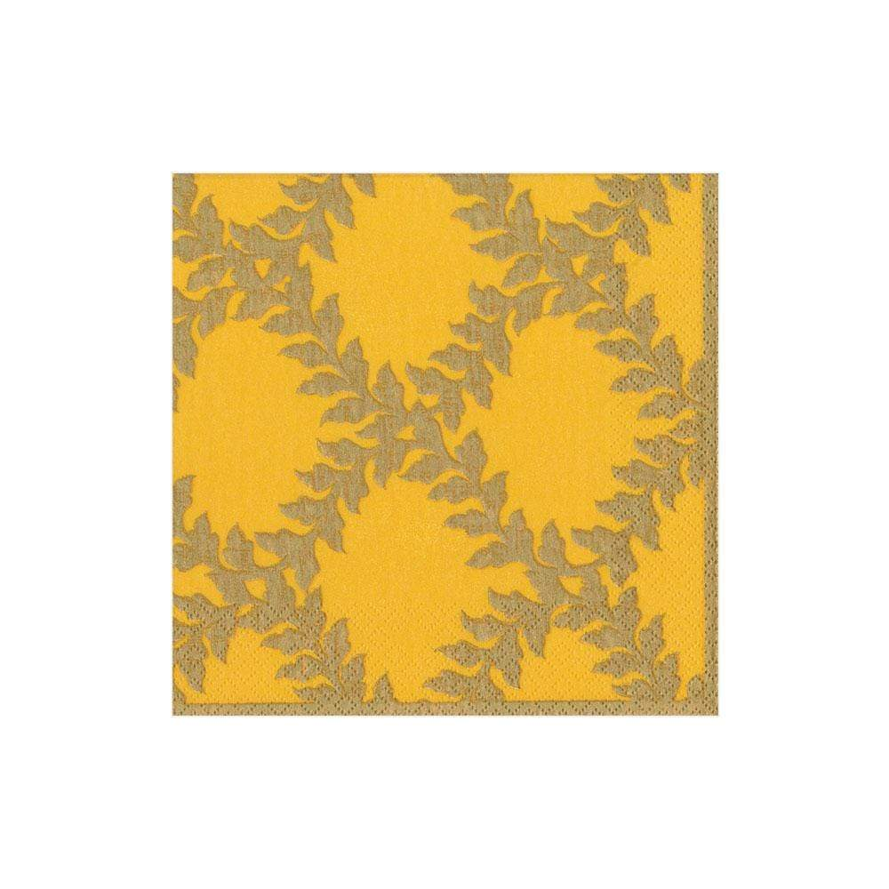 Caspari Acanthus Trellis Paper Cocktail Napkins in Yellow - 20 Per Package