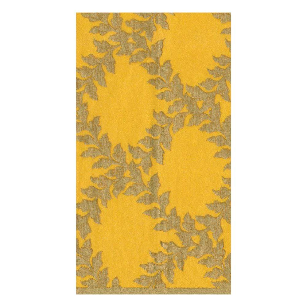 Caspari Acanthus Trellis Paper Guest Towel Napkins in Yellow - 15 Per Package