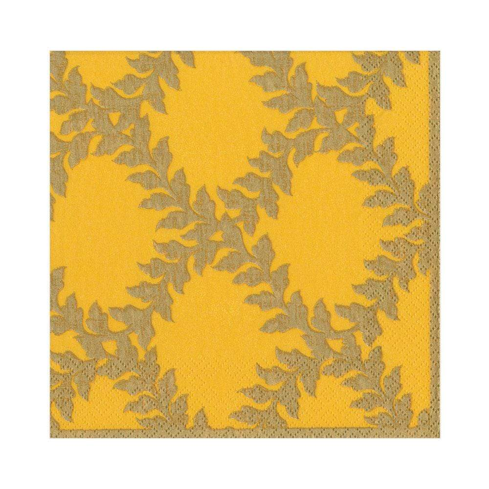 Caspari Acanthus Trellis Paper Luncheon Napkins in Yellow - 20 Per Package