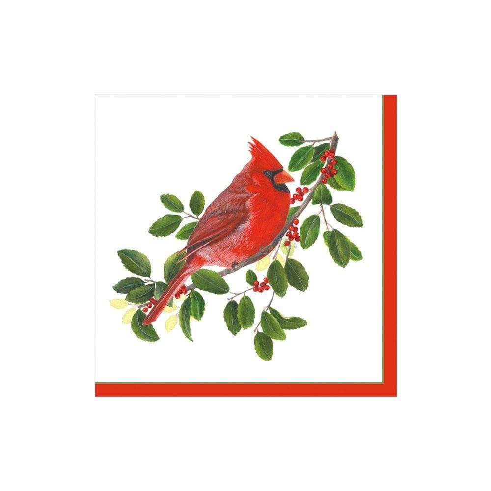 Caspari Winter Songbirds Paper Cocktail Napkins - 20 Per Package
